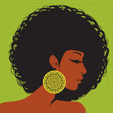 Silhouette de profil, femme afro-américaine Image stock