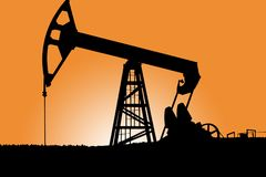 Silhouette de Pumpjack Photos stock