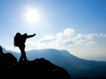 Silhouette de randonneur Image stock