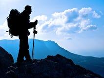 Silhouette de randonneur Photo libre de droits