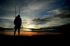 Silhouette de randonneur Image libre de droits