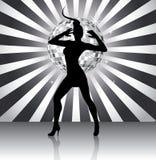 Silhouette de reine de disco Photographie stock libre de droits