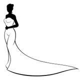 Silhouette de robe de mariage de jeune mariée Image libre de droits