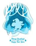 Silhouette de Santa sur le fond de forêt d'hiver Inscription du Joyeux Noël et de la bonne année Coupe colorée de papier posée Image stock