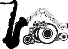 Silhouette de saxophone illustration stock