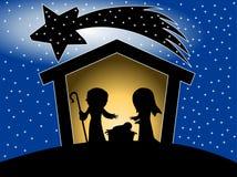 Silhouette de scène de nativité de Noël Images stock