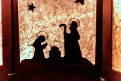 Silhouette de scène de nativité de Noël Photographie stock libre de droits
