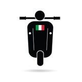 Silhouette de scooter avec le drapeau de l'Italie Photographie stock