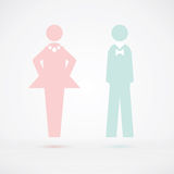 Silhouette de signe de carte de travail d'hommes et de femmes Photo libre de droits