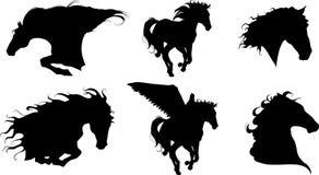 Silhouette de six chevaux Images libres de droits
