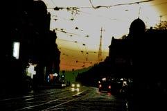 Silhouette de soirée de la ville Photographie stock libre de droits