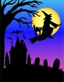 Silhouette de sorcière de Veille de la toussaint/ENV Photos stock