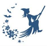 Silhouette de sorcière de vol Images stock
