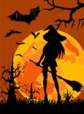 Silhouette de sorcière - Halloween Photo libre de droits