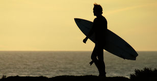 Silhouette de surfer Photo stock
