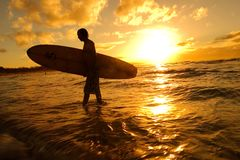 Silhouette de surfer Photo libre de droits
