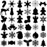 Silhouette de symbole de festival de Noël de flocon de neige Images libres de droits