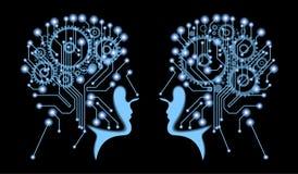 Silhouette de tête du ` s de l'homme avec la carte mère et les vitesses illustration de vecteur