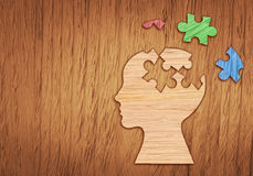 Silhouette de tête humaine, symbole de santé mentale Puzzle Photos libres de droits