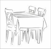 Silhouette de Tableau et de chaises Photographie stock