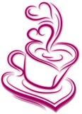 Silhouette de tasse de café avec la vapeur sur le blanc Dossier de vecteur de forme de coeur illustration libre de droits