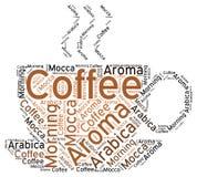 Silhouette de tasse de café : Étiquette de nuage de Word Image libre de droits
