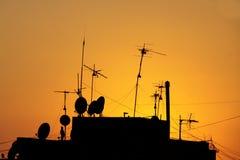 Silhouette de toit de ville image libre de droits