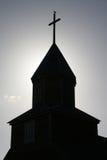 Silhouette de tour d'église Image stock