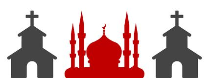 Silhouette de tour de minaret et de cloche illustration libre de droits