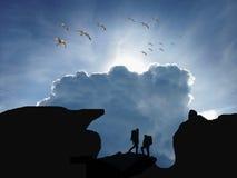 Silhouette de Trekker image stock