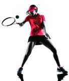 Silhouette de tristesse de joueur de tennis de femme images stock