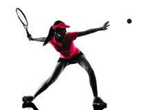Silhouette de tristesse de joueur de tennis de femme Photo libre de droits