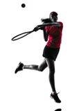Silhouette de tristesse de joueur de tennis de femme Image libre de droits