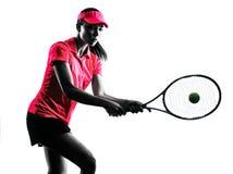 Silhouette de tristesse de joueur de tennis de femme Photographie stock libre de droits