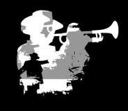 Silhouette de trompette illustration stock