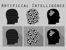 Silhouette de tête humaine Intelligence artificielle, tête avec des vitesses Ensemble d'icône dans une conception plate avec la l Image libre de droits