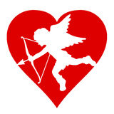 Silhouette de Valentine Cupido Photographie stock libre de droits