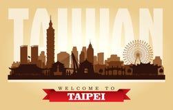 Silhouette de vecteur d'horizon de ville de Taïpeh Taïwan illustration libre de droits