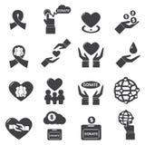 Silhouette de vecteur d'icône de charité Image libre de droits