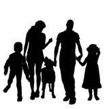 Silhouette de vecteur d'une famille illustration stock