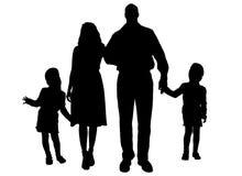 Silhouette de vecteur de famille Photo libre de droits