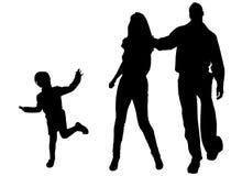 Silhouette de vecteur de famille Photos libres de droits
