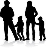Silhouette de vecteur de famille Images stock
