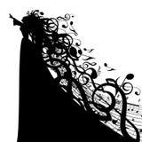 Silhouette de vecteur de femme avec des symboles musicaux Photographie stock libre de droits