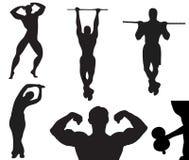 Silhouette de vecteur de noir de bodybuilder Images stock