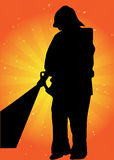 Silhouette de vecteur de pompier Photographie stock