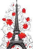 Silhouette de vecteur de Tour Eiffel Photos stock