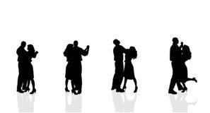 Silhouette de vecteur des couples Image stock