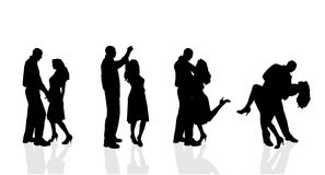 Silhouette de vecteur des couples Photos stock