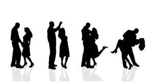 Silhouette de vecteur des couples Photos stock